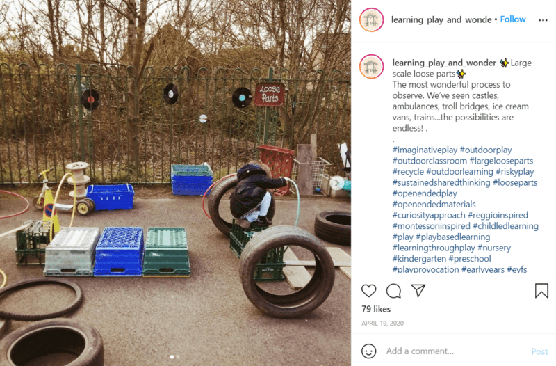 Still of use loose parts for learning and the playground from Instagram