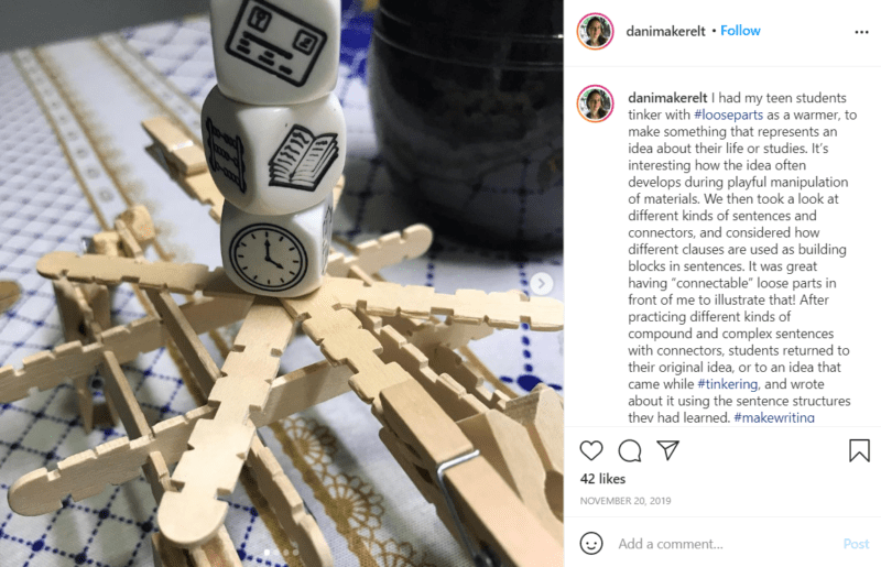 Use loose parts for learning and writing from Instagram
