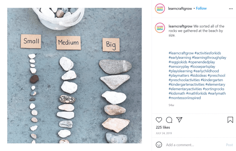 Still of use loose parts for learning to practice sorting and classifying from Instagram