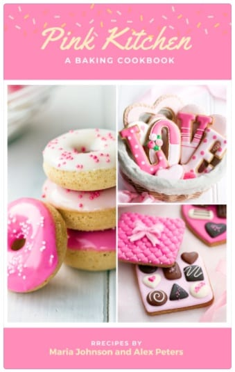 Example of a cookbook with pink background, donuts, and heart candies