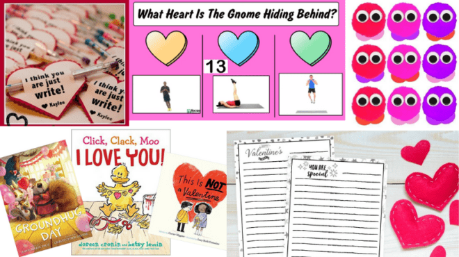 Collage of Valentine's Day activities for a virtual classroom