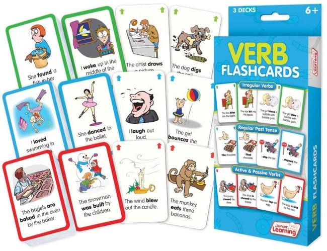 Verb flashcards with cartoon pictures and sentences in the past tense