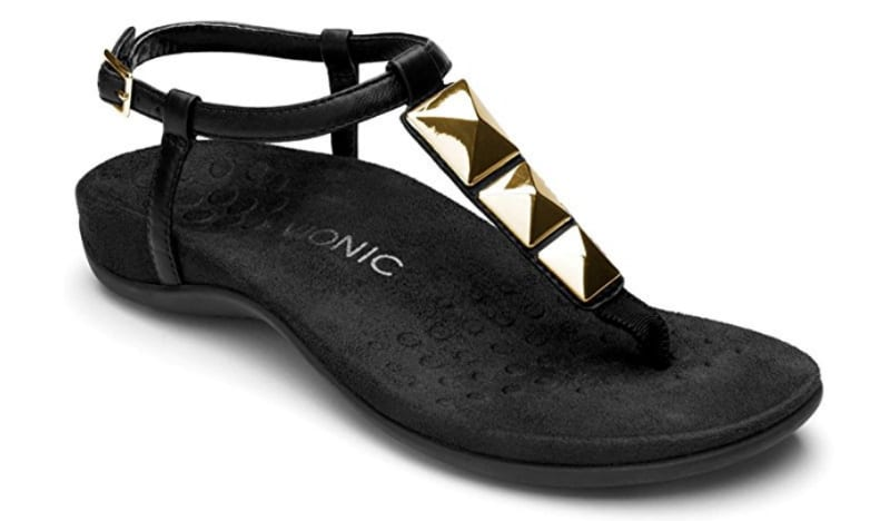 Vionic Sandal in black with gold accents