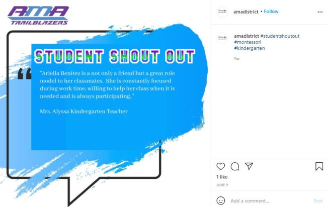 Student Shout Out on Instagram lauding the behavior of a student