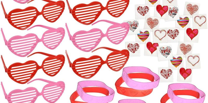 Valentine's Day sunglasses, tattoos, bracelets for virtual classroom parties