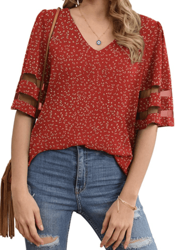 Red v-neck chiffon blouse with mesh arm detail