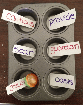 Vocabulary game that uses a muffin tin.