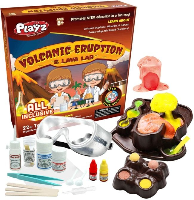 Playz Volcanic Eruption & Lava Lab Science Kit with safety equipment, plastic model volcanoes, chemicals, and more