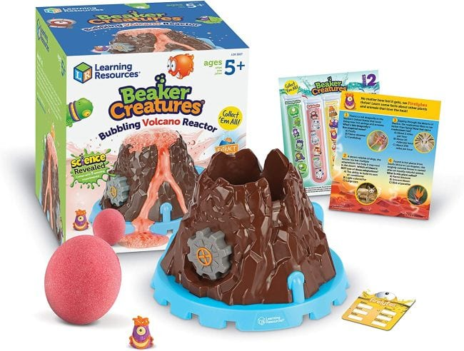 Beaker Creatures Volcano Kit with plastic volcano, rubber ball, tablets, and info cards
