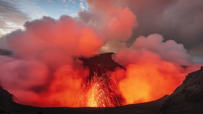 volcano crater erupting on Vanuau