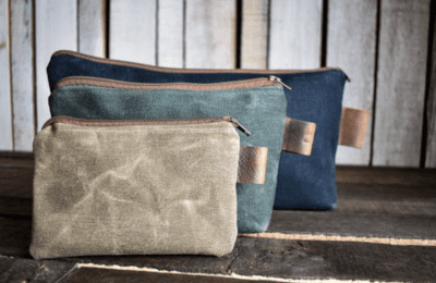 Waxed canvas pencil pouches from Etsy