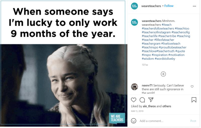 Still of Emilia Clarke from Game of Thrones teachers meme