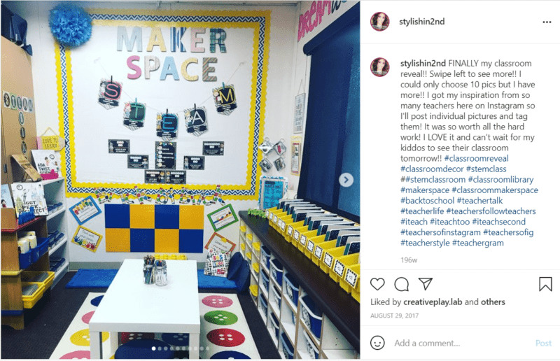 Blue and yellow classroom with Makerspace decor on the walls