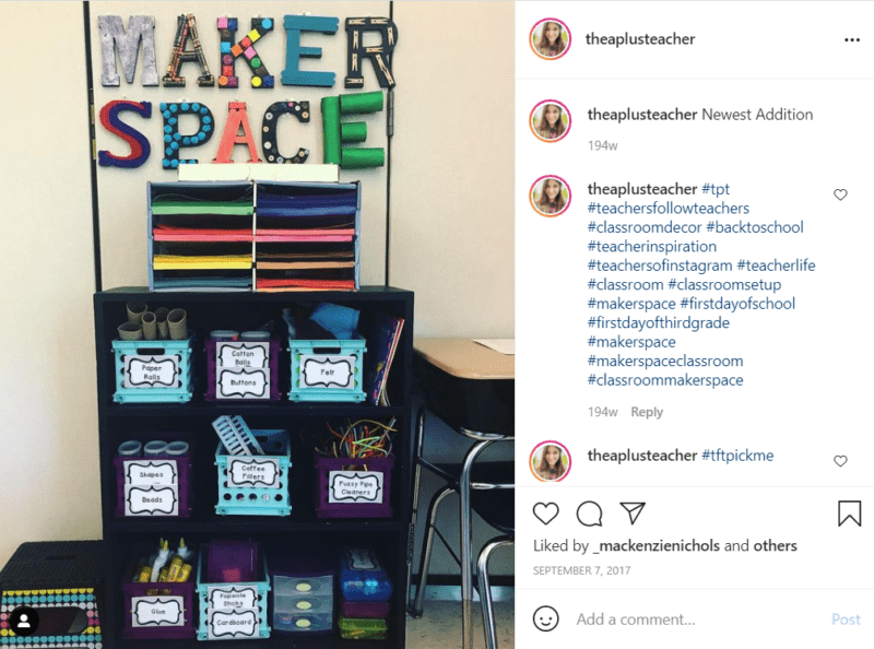 Classroom shelving unit and paper organizers in Makerspace corner