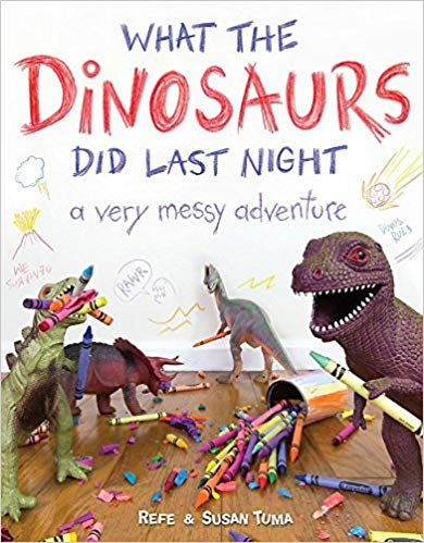 Book cover for What the Dinosaurs Did Last Night as an example of dinosaur books for kids