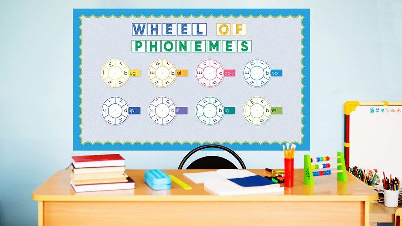 Wheel of Phonemes bulletin board behind a teacher desk