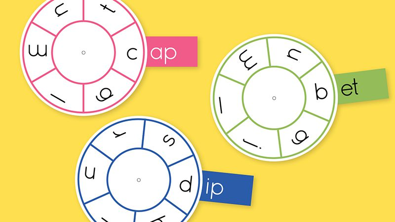 Three phoneme wheels for -ap, -et, and -ip on a yellow background