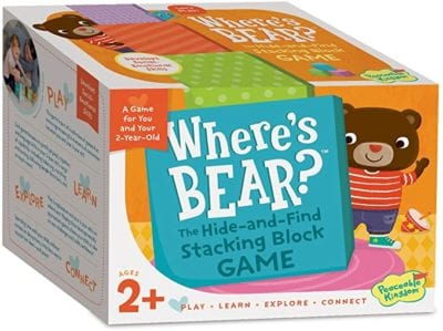 Box for Where's Bear: The Hide-and-Find Stacking Block Game cooperative game showing a bear peeking out from behind the game title