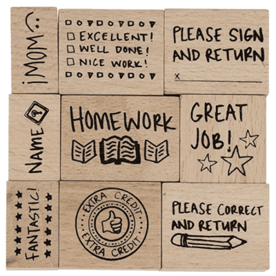 Wooden stamp set for teachers
