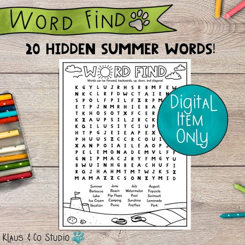 Hidden summer word printable - inexpensive gift ideas for students