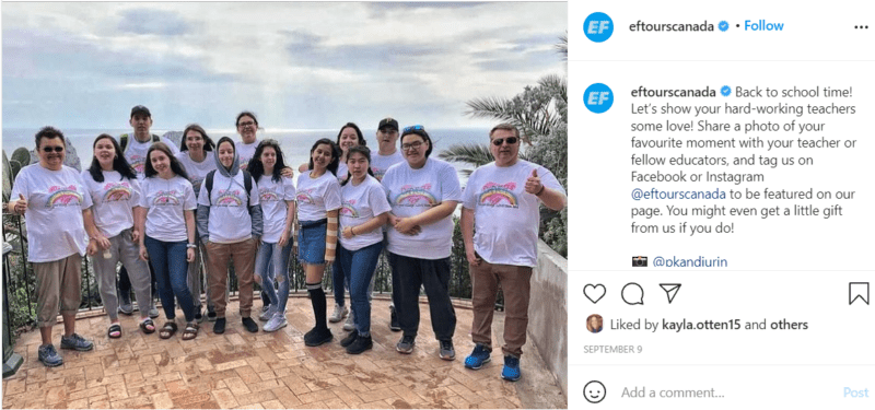 Group photo of teacher and students on class trip to Capri