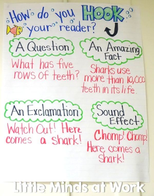 Hook Your Reader anchor chart with ideas like a question, an amazing fact, an exclamation, or a sound effect