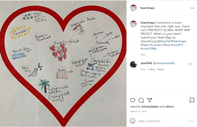 Red heart on light background sharing writing prompts for teachers