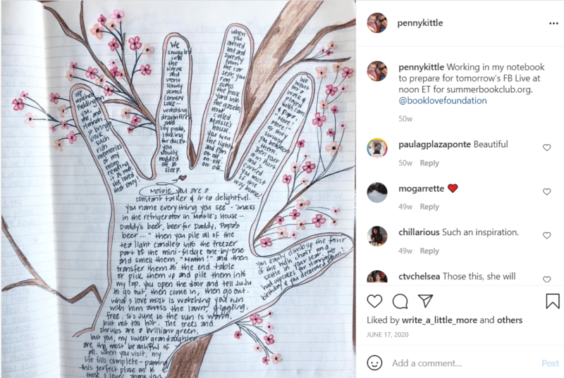 Tracing of hand on paper writing prompts for teachers