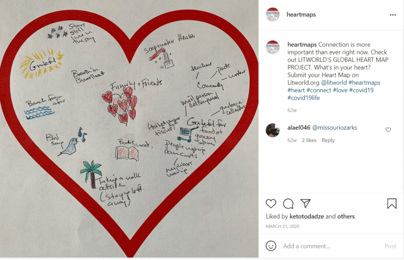 Red heart on white paper writing prompts for teachers