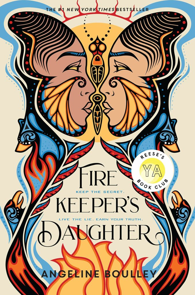 Cover of Firekeeper's Daughter YA books two Native American female faces looking at each other over flames