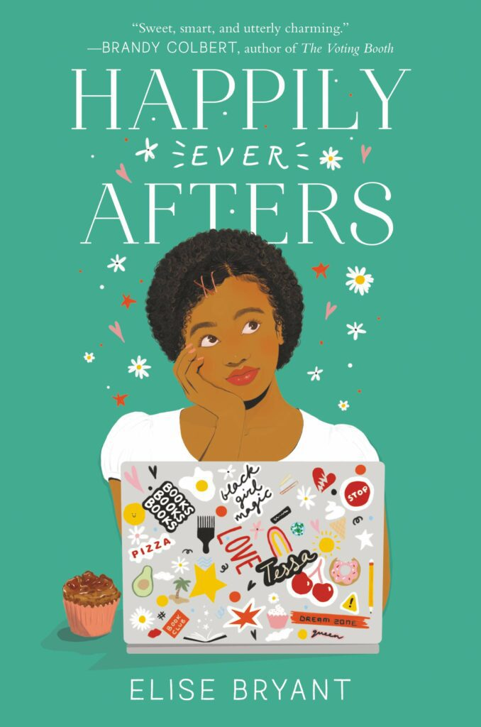 Cover of Happily Ever Afters green background Black female at laptop