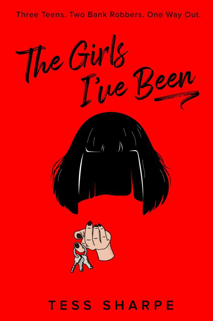 Cover of The Girls I've Been bright red background with black hair wig