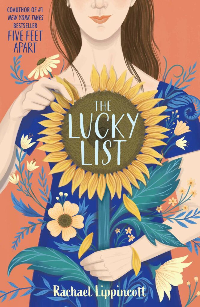 Cover of The Lucky List YA books woman in blue shirt holding large sunflower