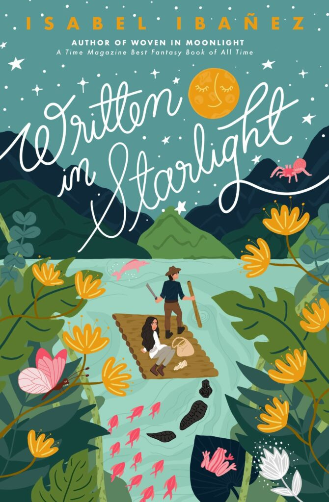 Cover of Written in Starlight two teens on a raft in the river under the moon with yellow flowers