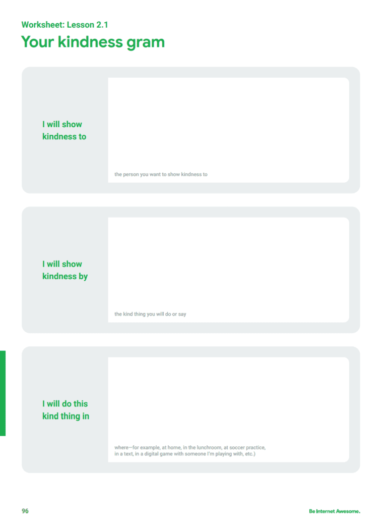 Screenshot of Your Kindness Gram worksheet from Google's Be Internet Awesome curriculum