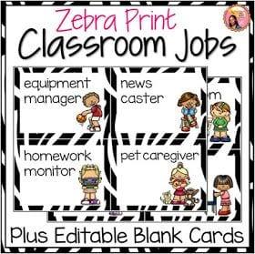 Zebra-print classroom jobs