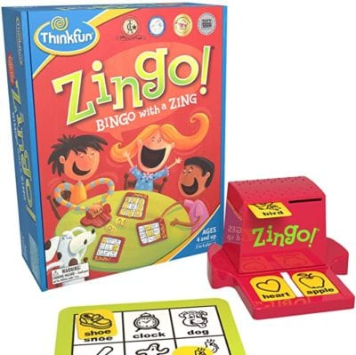Box, playing card, and card dispenser for Zingo game with tiles matched to playing card as an example of best preschool card games and board games for the classroom