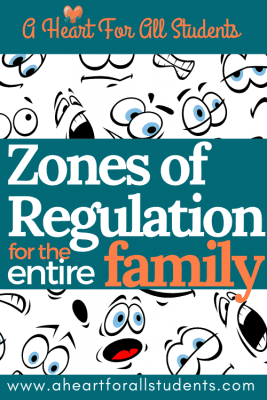 poster showing zones of regulation tips for entire family